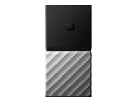 WD My Passport SSD WDBK3E5120PSL - Puolijohdeasema - salattu - 512 GB - ulkoinen (kannettava) - USB 3.1 Gen 2 (USB-C liitin) - AES 256 bittiä - black top with gunmetal (medium metallic gray) bottom WDBK3E5120PSL-WESN