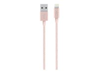 Belkin MIXIT Metallic Lightning to USB Cable - Lightning-kaapeli - USB (uros) to Lightning (uros) - 1.2 m - rose gold malleihin Apple iPad/iPhone/iPod (Lightning) F8J144BT04-C00